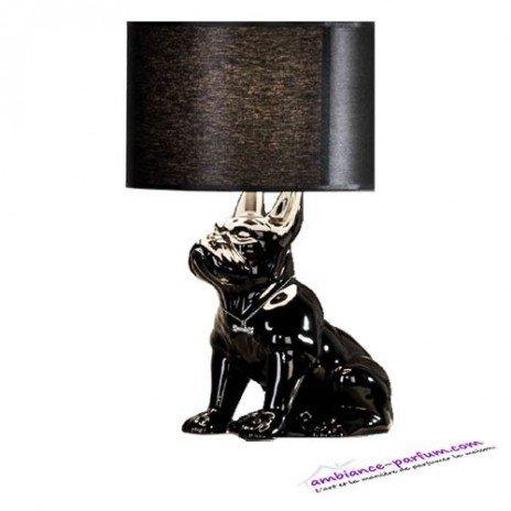 Lampe Bouledogue Céramique Noir