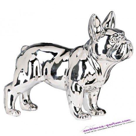 Sculpture Bouledogue Céramique Chrome