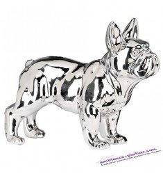 Sculpture Bouledogue Céramique Chrome