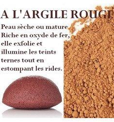 Eponges Konjac l'Argile Rouge