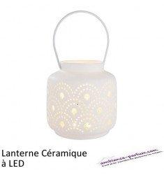Lanterne céramique à LED Motif éventail