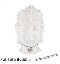 "Céramique Pot plantes ""Tête de Buddha"" Blanc"